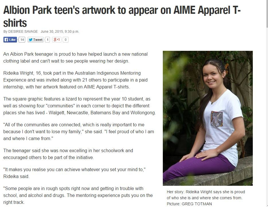 Albion Park Teens Artwork To Appear On Aime Apparel T Shirts