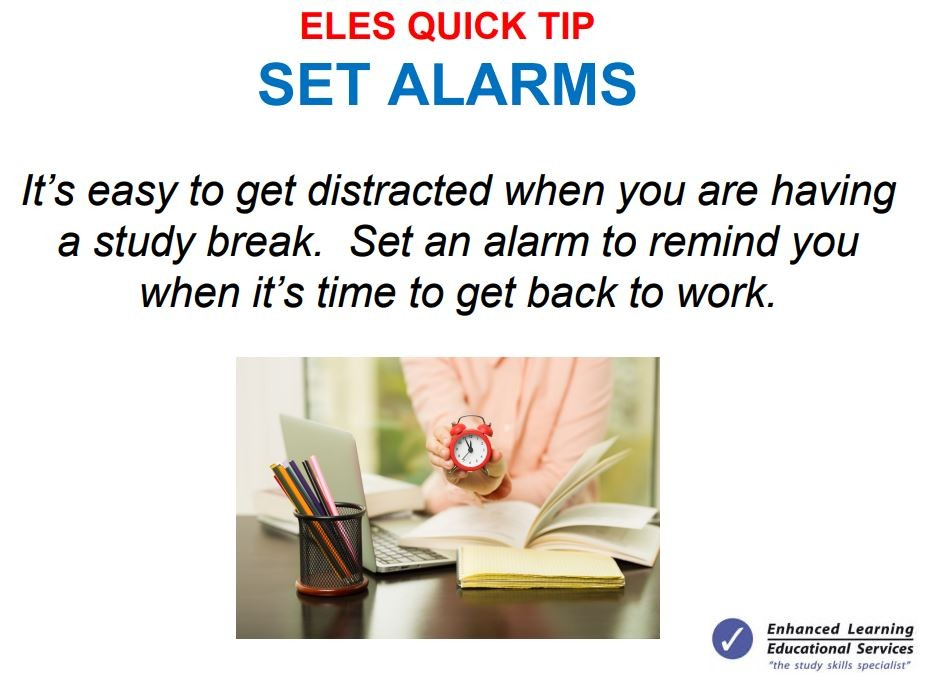 study tip - set alarms