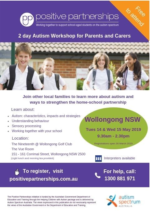 14 and 15 may 2019 Autism workshop for parents and carers