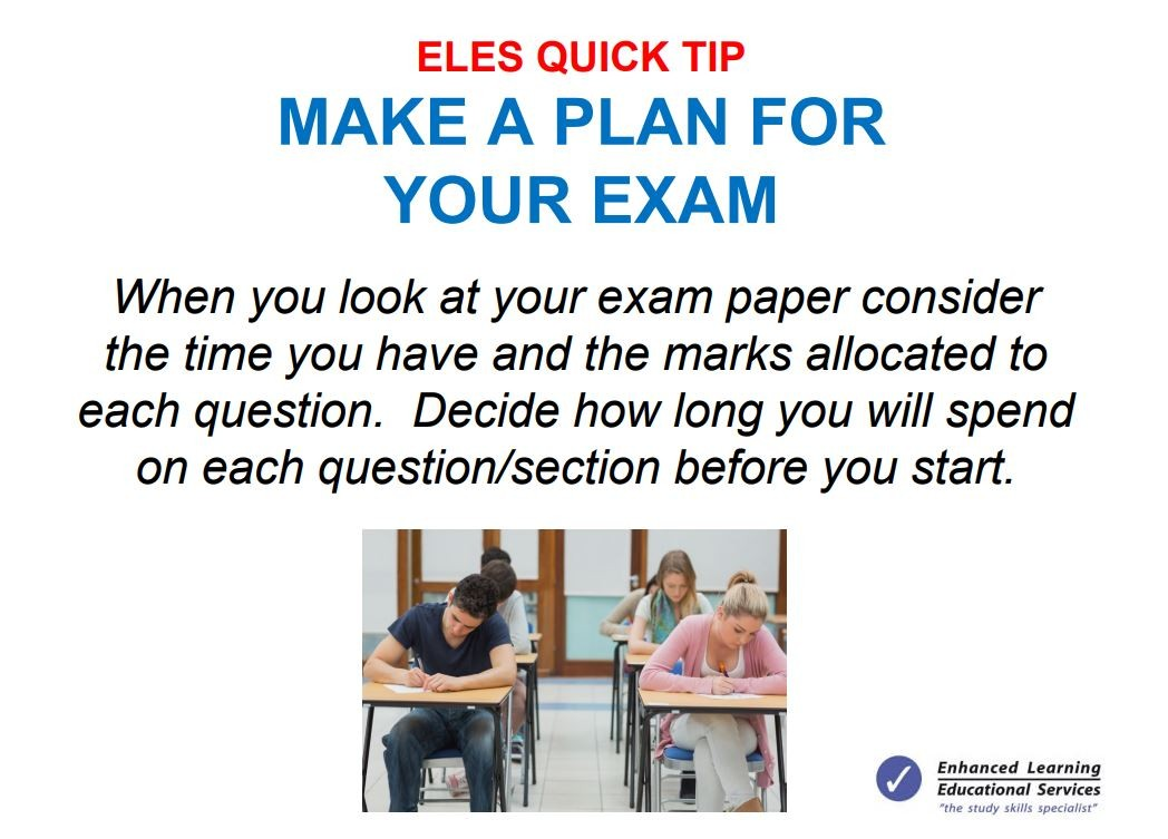 Make a plan for your exam